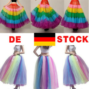 Damen Tüllrock Weichem Tutu Röcke Petticoat Langer Regenbogen Underskirt Bridal