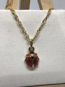 9ct 375 Hallmarked Solid Yellow Gold LADY BIRD CHARM PENDANT BRAND NEW (SMALL)