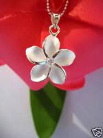 Hawaii 925K Sterling Silver Jewelry Pendant w/ Necklace Plumeria CZ SP # 43801