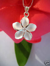 Hawaii 925K Sterling Silver Jewelry Pendant w/ Necklace Plumeria CZ SP # 43801