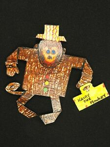 """LARGE WHIMSICAL VINTAGE 70s SIGNED ARTISAN MONKEY PIN BROOCH  ~ 4.5"""""""