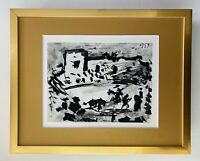 PABLO PICASSO + SUPERB 1961 SIGNED TOREROS PRINT MATTED 11 X 14 + LIST $595
