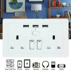 Double Wall UK Plug Socket 2 Gang 13A 3 USB Charger Outlets Plate Port B1H2