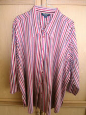 Button Down Shirt Striped Plus Size 100% Cotton Tops & Blouses for Women