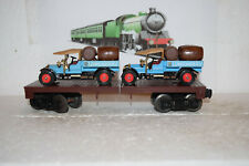 O Scale Trains Lionel unlettered Flat Car with Lowenbrau Beer Trucks
