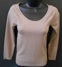 TAMCO USA Woman Top Blouse Spandex Mocha Brown Fitted Long Sleeve Small X SMALL