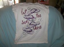 """Girls Justice top size 14--GUC--white, S/S, purple sparkly flip flops, """"Let the"""