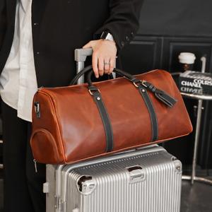 Large Vintage Mens Leather Overnight Bag Travel Duffle Gym Weekend Luggage 2021