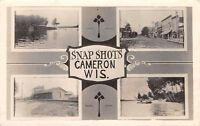 "Cameron Wisconsin~""Snap Shots""~Railroad Depot~Main Street~Canoeing~1924 RPPC"