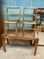 Vintage Antique Original Sunday School Children's Wooden Desk Table & 2 Chairs