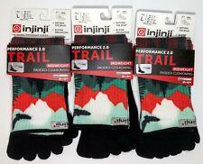 Injinji Toe Socks Running Trail 2.0 Sierra Spectrum LOT OF 3 Padded LARGE