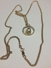 VINTAGE RELIGIOUS GLASS 18K GOLD VIRGIN MARY PENDANT, 14K CHAIN 25 INCHES