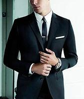 Mens Grey 3CM Tie Bar - Solid Stainless Steel Extra Skinny Slim Clip Black Clasp