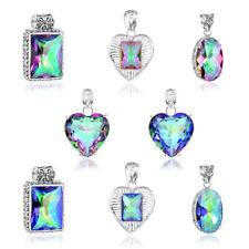 Woman Multi-Shape Gorgeous Rainbow Mystic Topaz Silver Necklace Pendants