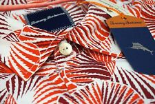 Tommy Bahama Camp Shirt Red Shell We Dance XLT 100 Silk Button Front D26