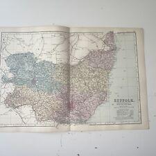 c1889 Suffolk British Isles Map Bacon Antique Vgc