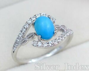 Solid 925 Sterling Silver Natural Oval Turquoise Gemstone Wedding Ring For Women