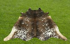 Cowhide Rugs Tricolor Real Cow Hide Hair on Skin Leather Area Rug 6 x 5.5 ft