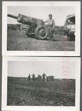Vintage Snapshot Photos Army Men w/ Military Artillery Cannon Gun Weapon 699015