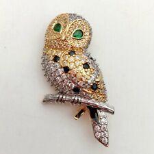 Owl Cubic Zirconia 24 K Gold Plated Brooch Pin - Bird CZ Brooch  Animal Jewelry