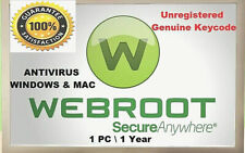 Webroot Secure Anywhere Antivirus 2020 -1 Device-1 Year Genuine unregistered Key