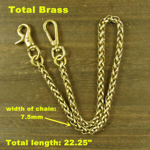 Solid Brass Bag Wallet Chain key chain + Snap Hook Fob Keychains (Snake Chain)