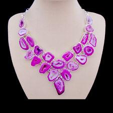 Achat Druse pink rosa marmoriert Design Halskette Kette Collier Silber plattiert