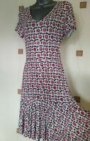DRESS 10 38 SMALL S FLORAL DOTS PRINT STRETCH BOHO HIPPY QUIRKY NEXT