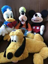"Authentic DIsney Store Mickey Goofy Donald Pluto Plush Stuffed Animal Toy 18"""