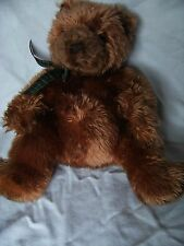 """TY THE BROWN BEAR SOFT TOY APPROX 13"""" green tartan ribbon around neck"""