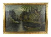 Antique 19th Century Landscape Oil Painting River Forest Nocturnal Scene Signed