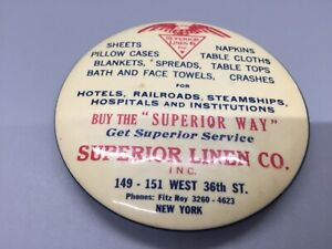 "3"" Superior Linen Co. New York advertising mirror"