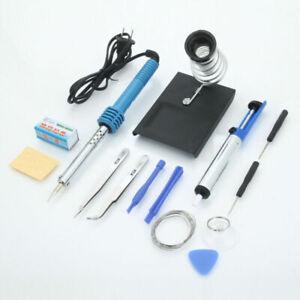 Hot 14PCS 60W 110V Electric Soldering Iron Tools Kit Stand Desoldering Pump Set