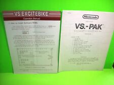 Nintendo EXCITEBIKE Original Video Arcade Game 1-Page Manual + VS PAK Info Sheet