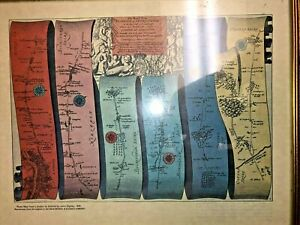 """""""Road Map from London to Oxford"""" by John Ogilby, 1675 - Framed"""