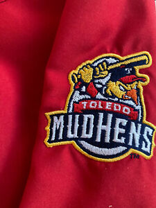 Detroit Tigers Toledo Mud Hens Red Dugout Lined Pullover Size XL Baseball Jacket