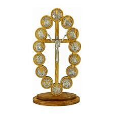 Croce Cristo Risorto in Legno di Ulivo con Via Crucis 28 cm