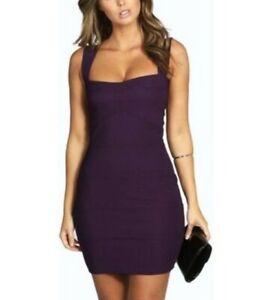 boohoo bandage dress uk 8 women's purple bodycon ladies party
