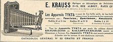 APPAREILS PHOTO TYKTA ETS KRAUSS PARIS PUBLICITE 1908