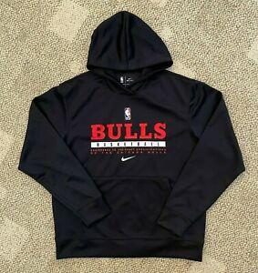 Mens Nike Dry Pullover Basketball Hoodie Black Size Medium NBA Chicago Bulls