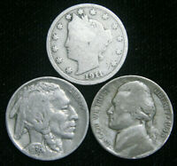 Old US Coin Estate Lot Silver War, Buffalo, & Liberty V Nickels 3 Coin Set