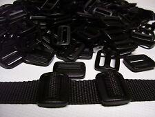 "100 Pcs. Black 1"" Sliplock 3 Bar Slide Buckles Duraflex For 1 Inch Webbing"