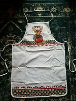 Adorable Vintage Christmas Reindeer Full Apron with Neck Strap and Tie Strings