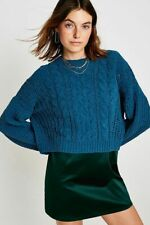 New Urban Outfitters Cable Blue Knit Chenille Crew Neck Jumper, X-Small RRP £46