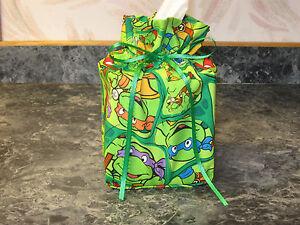 Ninja Turtles green half shell cotton Fabric square Tissue Box Cover handmade