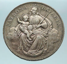 1865 BAVARIA German States KING LUDWIG II MADONNA BABY Silver Thaler Coin i84375