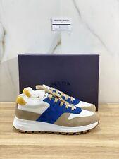 Prada Uomo Sneaker  In Suede Blu Desert  Luxury Men Sneaker Prada 43.5