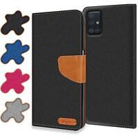 Handy Hülle Samsung Galaxy A51 Tasche Wallet Flip Case Schutz Hülle Stoff Cover