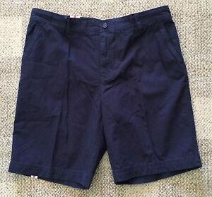 IZOD Mens Size 32 Midnight Navy Blue Saltwater Chino Shorts Cotton Flat Front
