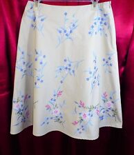 COVINGTON 100% Cotton Embroidered Lined A Line Skirt Beige Blue Pink Floral  8 M